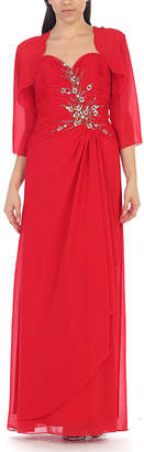 Mayqueen MayQueen Women's Special Occasion Dresses Red - Red Floral Embroidered Gown & Shrug - Women