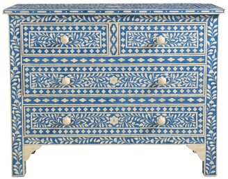 Empress Homewares Farisha Bone Inlay 4 Drawer Chest Azure