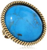 Yochi Turquoise Textured Adjustable Ring