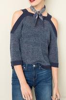 Michele Navy Shoulder Sweater