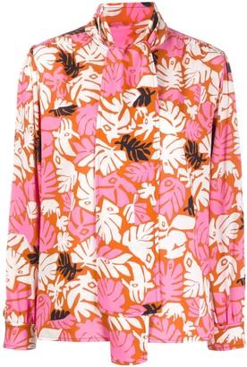 Marni Tropical Print Pussy Bow Shirt