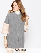 Helene Berman Kimono Coat In Gray With Pink Fluffy Sleeve