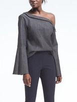 Banana Republic One-Shoulder Flare-Sleeve Denim Top