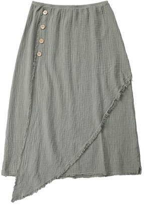 Mod-o-doc Double Layer Gauze Midi Skirt with Faux Wrap Front (Cactus) Women's Skirt