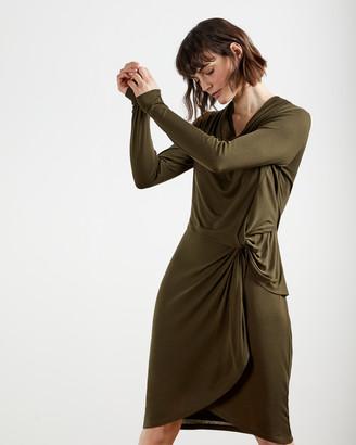 Ted Baker NEYDA Jersey Drape Long Sleeve Mini Dress