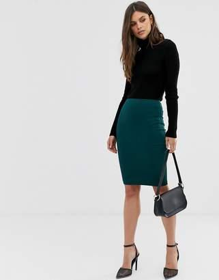 Asos Design DESIGN high waisted pencil skirt-Green