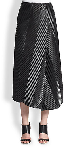 J.W.Anderson Pleather Herringbone-Pleat Skirt