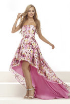 Janique - Lovely Strapless Hi-Lo Floral Dress W1688