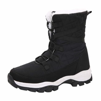 TEELONG Women's Waterproof Winter Warm Snow Boots Ladies Solid Color Lace Up Ankle Boots Lightweight Thick Bottom Shoes Soft Comfy Warm Lined Trainer Short Boots(Black 5 UK)