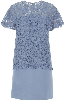Valentino Lace Overlay Shift Dress