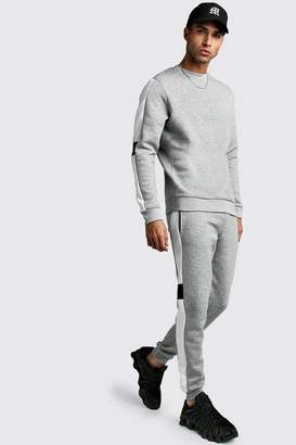 BoohoomanBoohooMAN Mens Grey jumper Tracksuit With Contrast Side Panel, Grey
