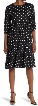 Velvet Torch Polka Dot Print Tiered Midi Dress
