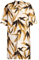 Marni Bamboo-print ruffled-neck dress