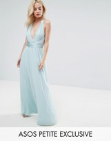 Asos Deep Plunge Strap Back Maxi with Satin Tie