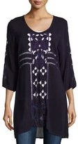 Johnny Was April 3/4-Sleeve Embroidered Long Top, Deep Plum, Plus Size