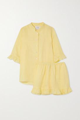Sleeper Ruffled Linen Pajama Set - Yellow