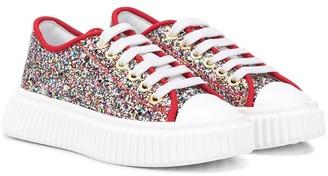 Marni TEEN glitter.embellished platform sneakers