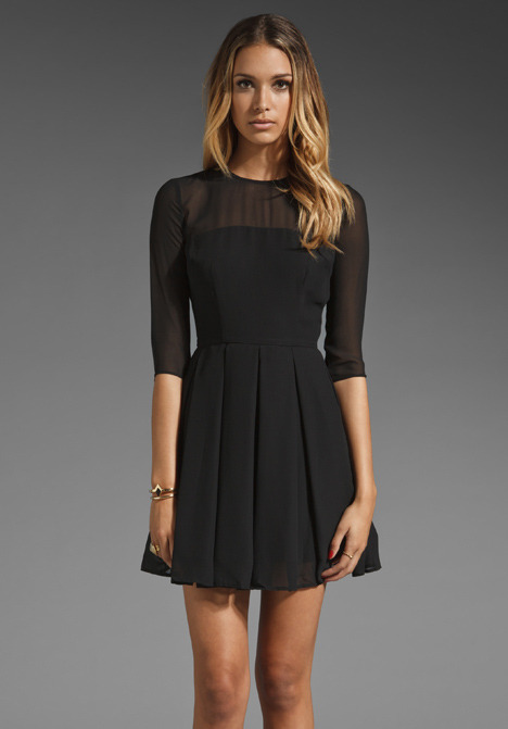 BB Dakota Rylan Sheer Shell Pleated Dress