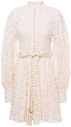 Zimmermann Belted Guipure Lace Mini Dress