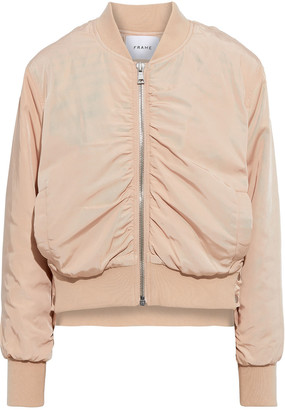 Frame Snap-detailed Ruched Shell Bomber Jacket