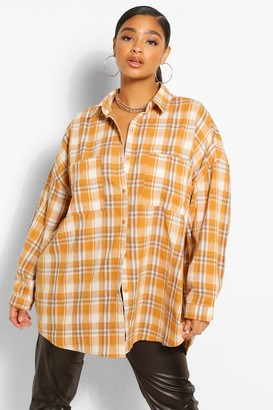 boohoo Plus Oversized Boyfriend Flannel Shirt