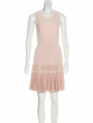 Alaia Pleated Fit and Flare Dress Champagne