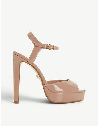 Dune Morrell patent-effect platform sandals