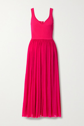 Alexander McQueen Chiffon And Ribbed-knit Midi Dress - Bright pink