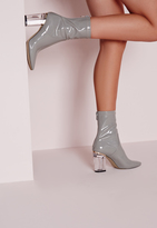 Missguided Patent Ankle Boots Perspex Heel Grey