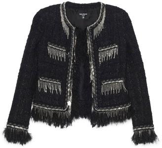 Balmain Collarless Tweed Blazer