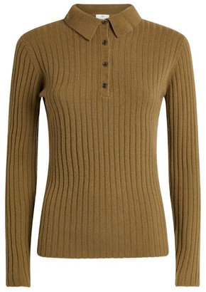 Allude Ribbed Cashmere Polo Shirt