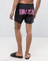 Asos Swim Shorts With Ibiza Neon Sign Print In Short Length
