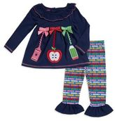 Nannette Little Girl's Back-To-School Applique Top and Printed Leggings Set