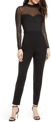 French Connection Leah Mesh And Jersey Jumpsuit
