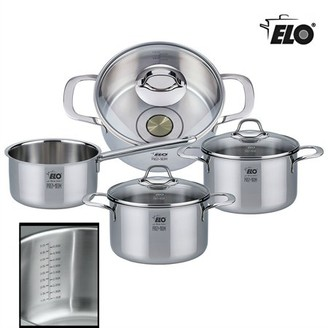 Elo ELO Silicano Plus Stainless Steel Cookware Pots and Pans Set with Induction Heating, Integrated Oil Measuring System and Liquid Measuring System, 7-Piece
