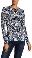 Nicole Miller Printed Long Sleeve Tee