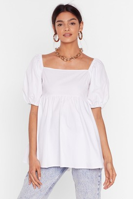 Nasty Gal Womens Square Neckline Puff Sleeve Blouse - White