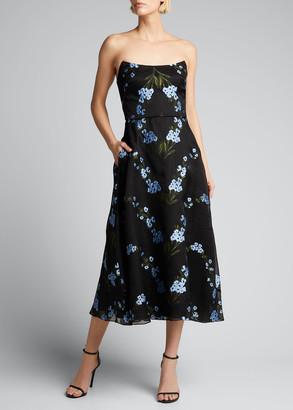 Lela Rose Strapless Vine-Print Organza Peaked Bodice Dress