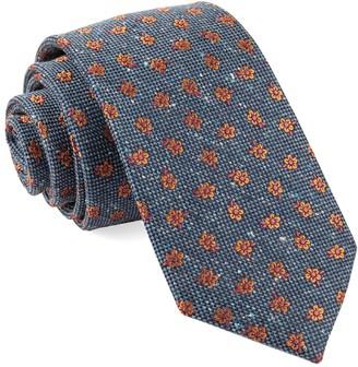 Tie Bar Retro Flowers Navy Tie