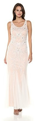 Betsy & Adam Women's Long Beaded mesh Dress with Godets
