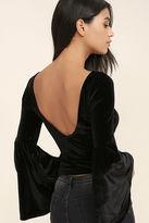 LuLu*s Look to the Moon Burgundy Velvet Long Sleeve Crop Top
