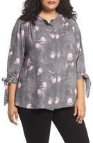 Caslon Plus Size Women's Tie Sleeve Blouse