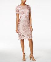 Jax Embroidered Illusion Sheath Dress