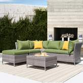 Bronx Ellenburg 4 Piece Rattan Sectional Seating Group with Cushions Ivy Cushion Color: Green