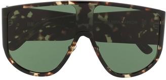 Linda Farrow Tortoiseshell Visor Sunglasses