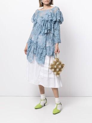 yuhan wang Lace-Panel Ruffled Blouse