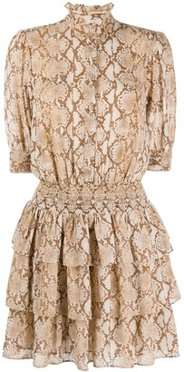 MICHAEL Michael Kors Snake Print Ruffled Dress