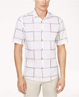Alfani Men's Short-Sleeve Classic-Fit Windowpane Shirt, Created for Macy's