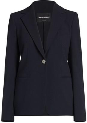 Giorgio Armani Stretch Wool Single Breasted Jacket