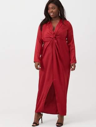Little Mistress Curve V Neck Maxi Dress - Ruby